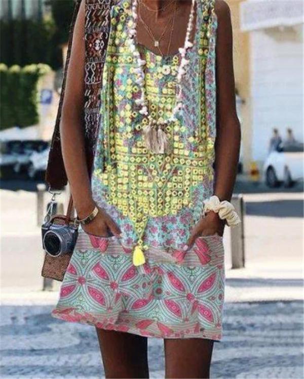Fashion Summer U Neck Printed Loose Dress