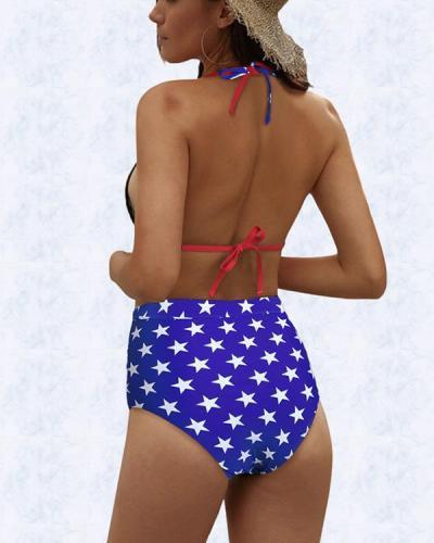 American Flag Printed Sexy Halter High Waist Bikini