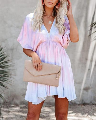 New Tie Dye V-Neck Bat Sleeve Swing Mini Dress