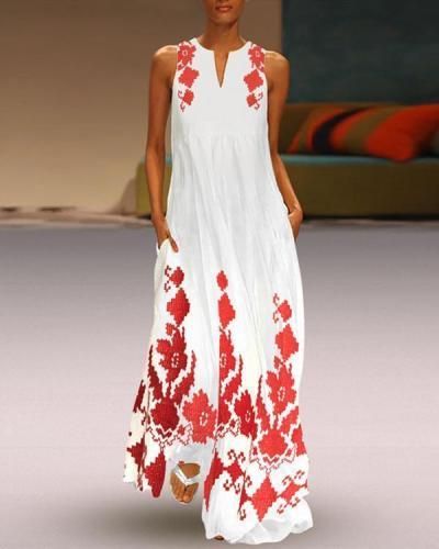 Fashion Sleeveless Printed V Neck Plus Size Beach Dress