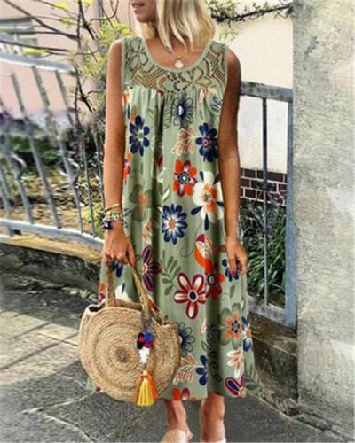 Women's Sleeveless Lace Floral Printed Fashion Daily Dress