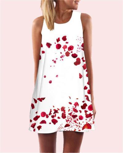 Rose Printed Sleeveless Beach Dress