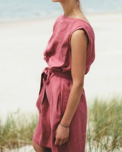 Casual Back V-neck Sleeveless linen Summer Dress