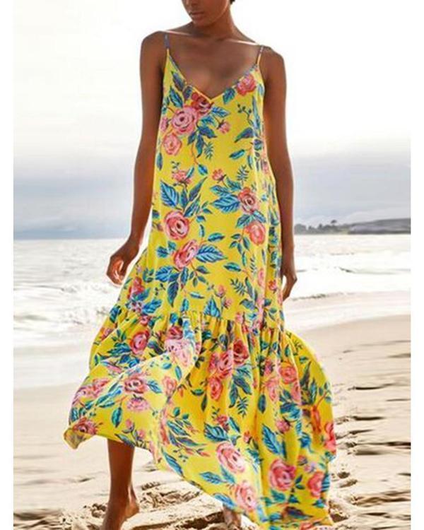 Women's Fashion Floral Printed Sleeveless Gradient Plus Size Dress