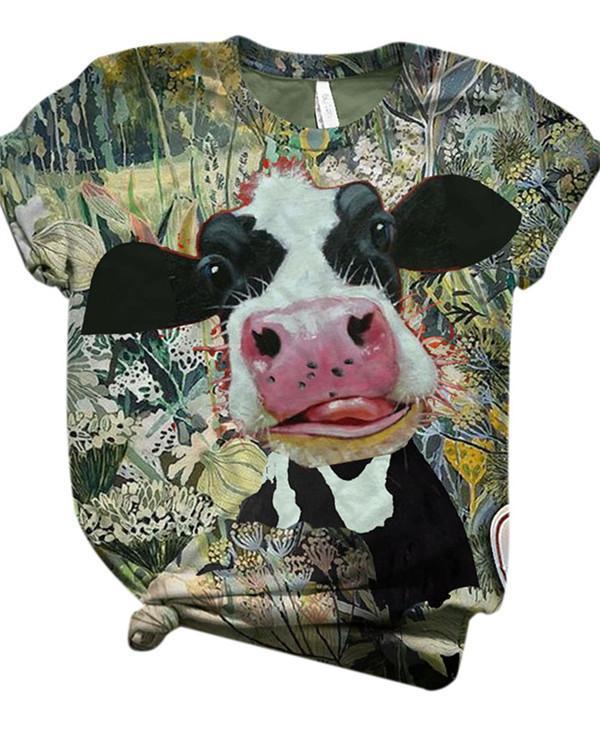 Cute Animal Printed Short Sleeve Crew Neck Shirts & Tops