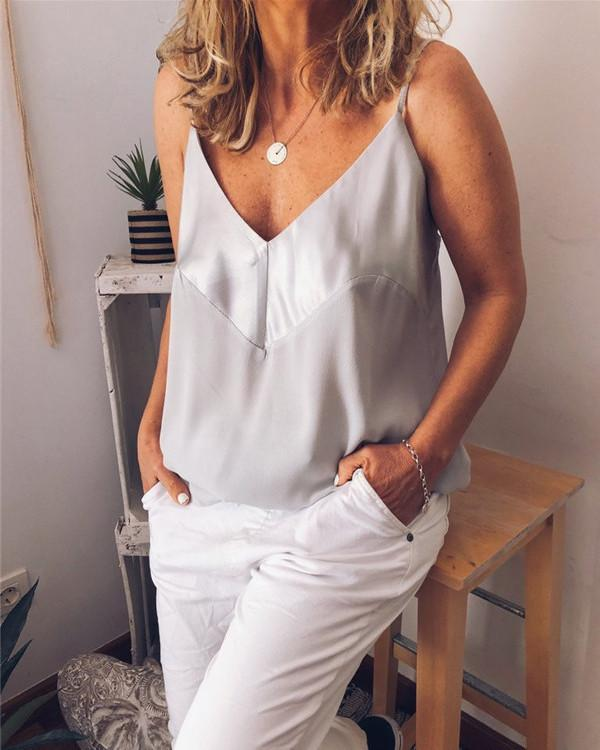 Casual V Neck Solid  Sleeveless T-shirts Vest Tops