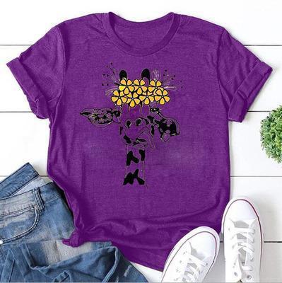 Casual Short Sleeve Animal Printed Shirts & Tops