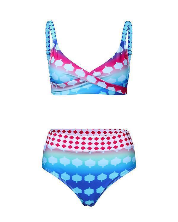 Plus Size Polka Dot Oriental Bikini Set