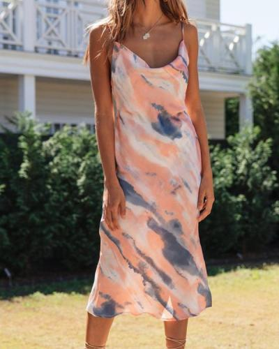 Cowl Neck Tie Dye Cami Dress