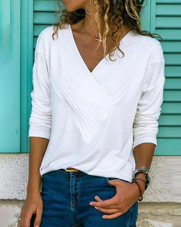Brief V Neck Long Sleeve Plain Casual T-Shirts