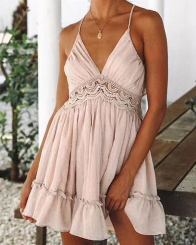 Women Sexy Hallow Lace Strap Sleeveless Solid Dress