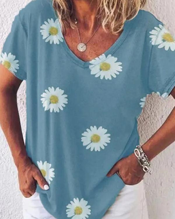 Short Sleeve Casual Floral Print Shirt
