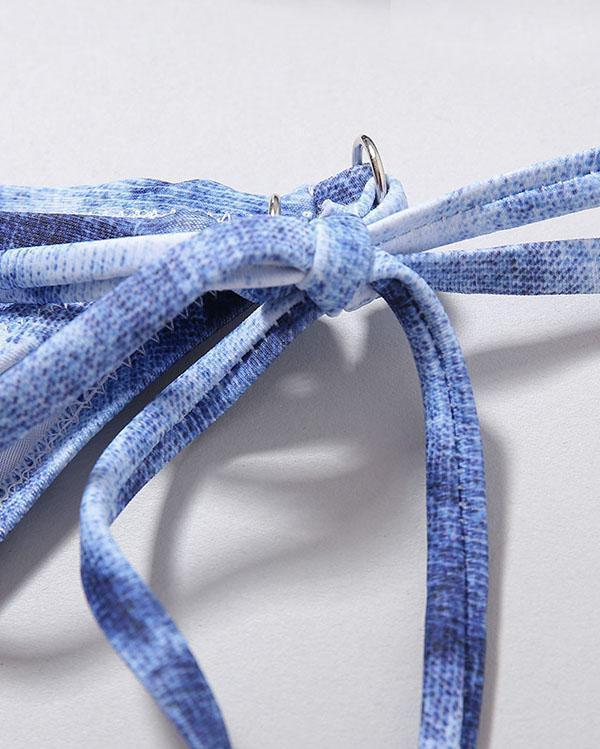 Tie-dye Printed Split Bikini