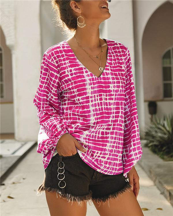 Fashion Women Summer V Neck Printed Holiday Daily Blouse