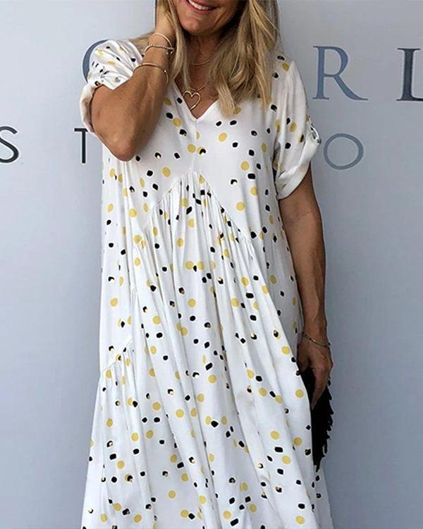 White V neck Short Sleeve Loose Polka Dots Casual Dresses