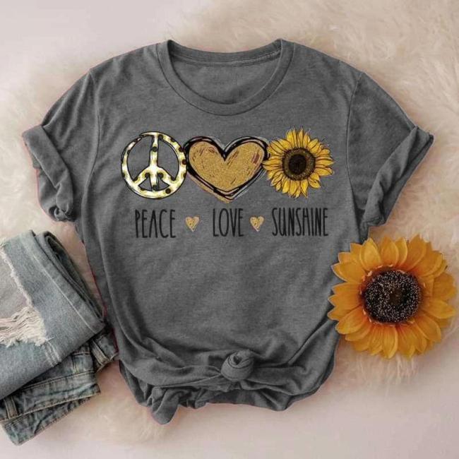 Women Peace Love Sunshine Fashion Summer T-shirts