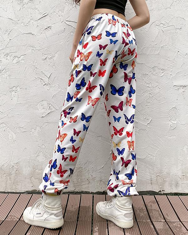 Butterfly Print Casual Hip-hop Trousers