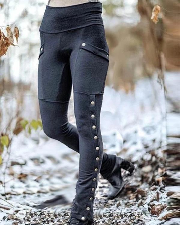 Women's Rvet Split Slim Stretch Pocket Leggings Pants