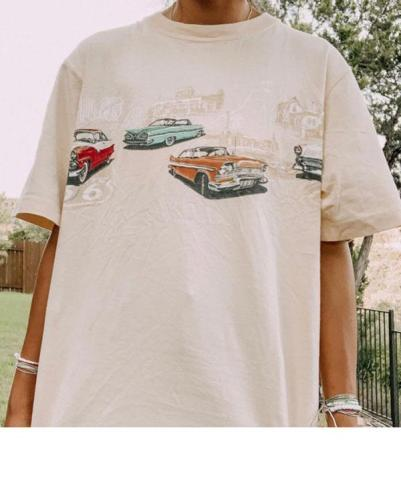 Casual Daily Car Printed Short-Sleeved T-Shirt