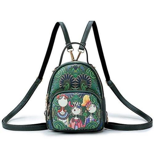 Bohemian Forest Handbag Multi-function Backpack Print Crossbody Bag