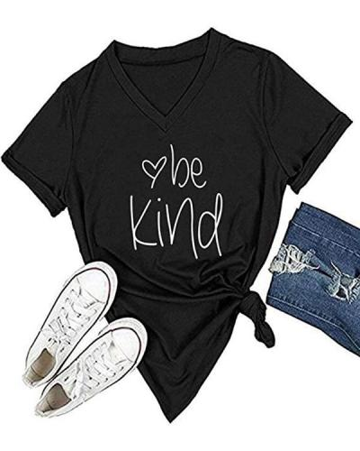 Womens T Shirt Casual Cotton Short Sleeve V-Neck Graphic T-Shirt