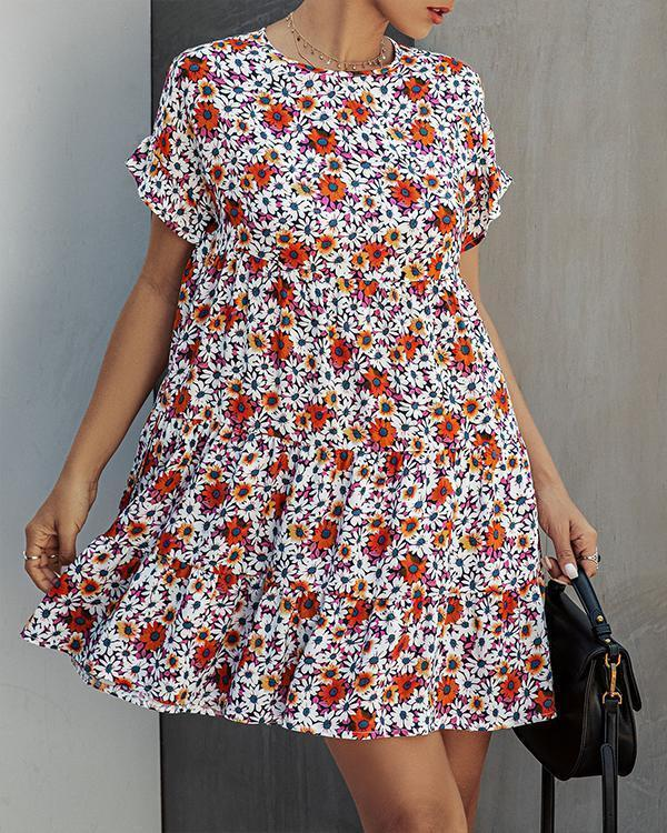 Spring Women Printed A-line Mini Dresses