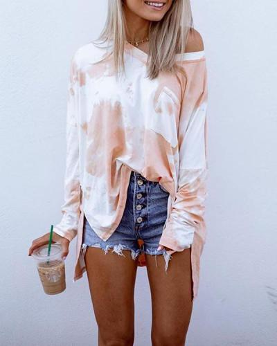 V Neck Tie Dye Print Pocket Slit Casual Blouse