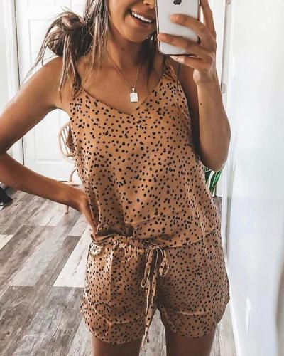 Leopard Cami Top & Drawstring Shorts