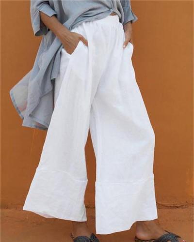 Casual Elastic Waist Folds Wide Leg Pants