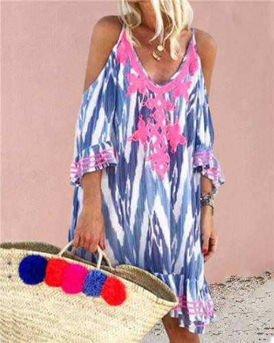 Boho Beach Short Sleeves Casual Vacation Dresses