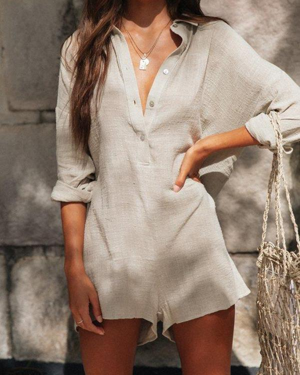 Solid Color Button Front Romper