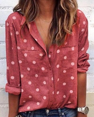 Womens Clothing Long Sleeve Polka Dots Shirts