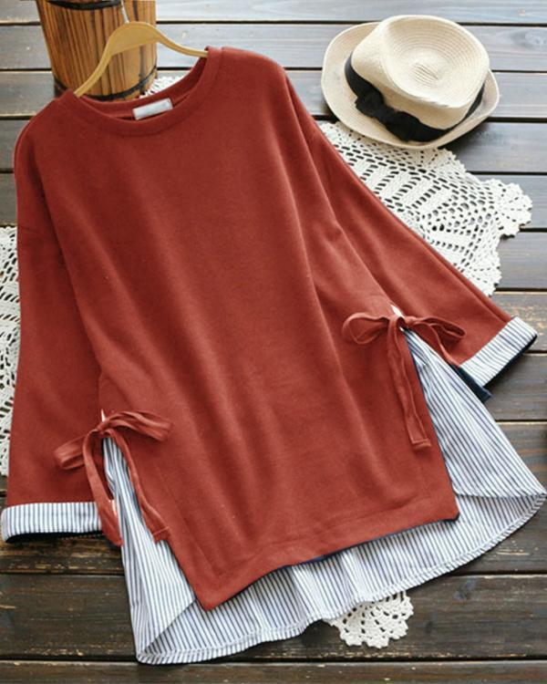 Fake Two Pieces Stripe Patchwork Bandage Casual T-shirts