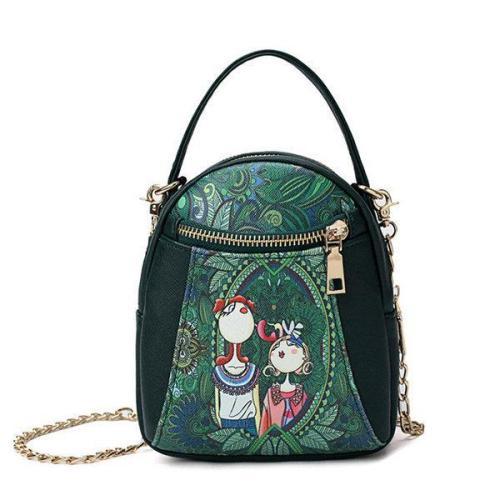 Chain Forest Print Crossbody Bag Double Zipper Handbag