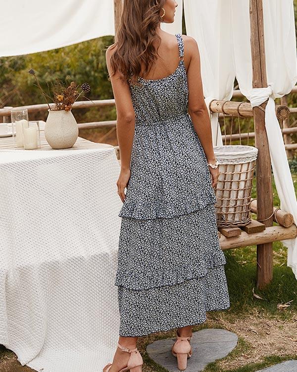 Boho Drawstring Sleeveless Maxi Dresses