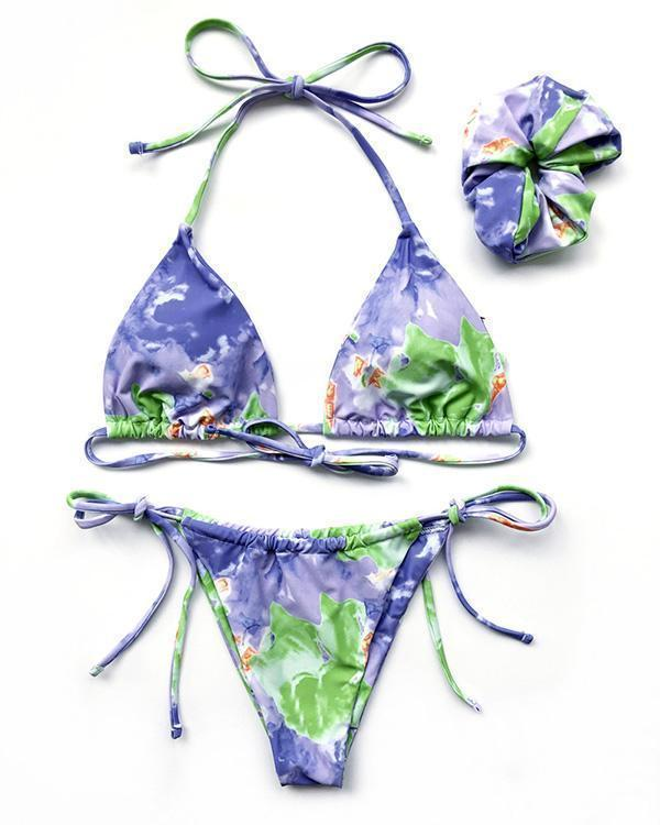 Lace Tie-dye Printed Bikini with Hair Band