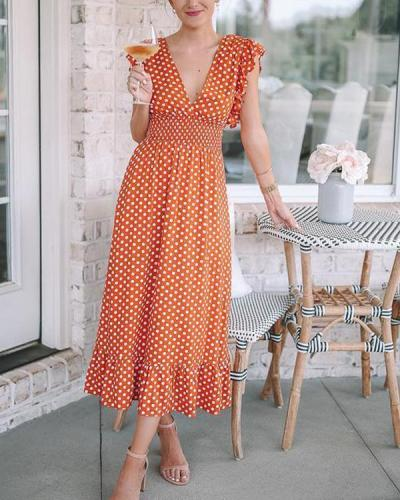 Summer Ruffled Deep V-Neck Polka Dot Dress