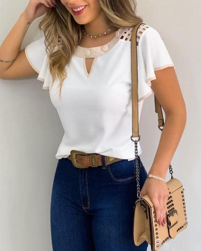 Cutout Ruffles Sleeve Contrast Binding T-shirts