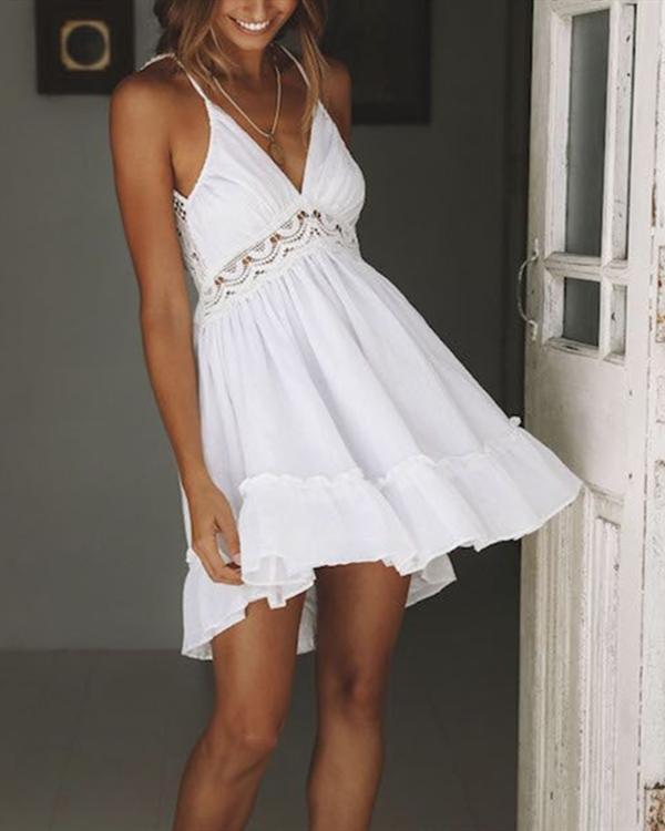 Women Sexy Hallow Lace Strap Sleeveless Solid Dress