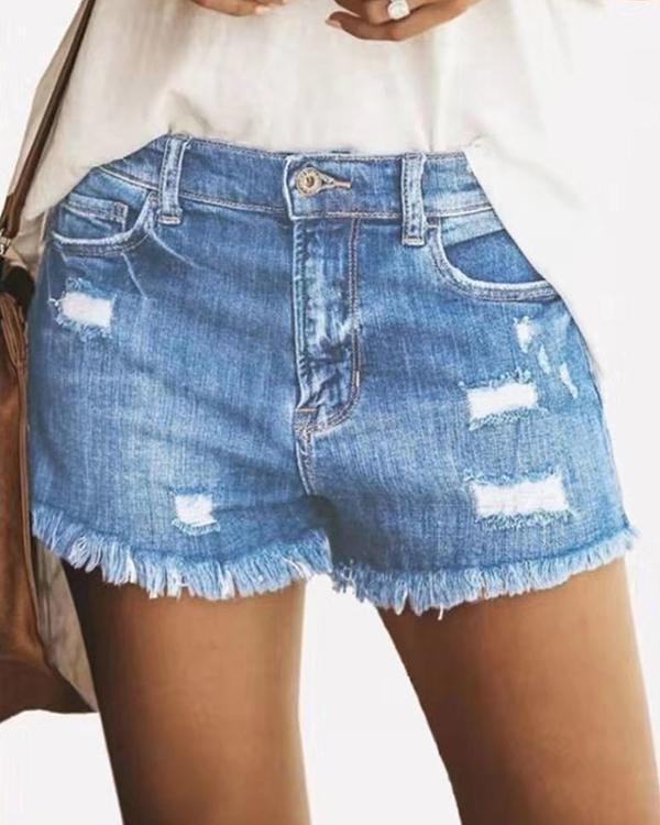 Women Distressed Stretchy Denim Jeans Shorts