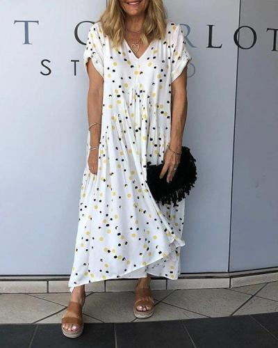 White V neck Short Sleeve Loose Polka Dots Casual Dresses