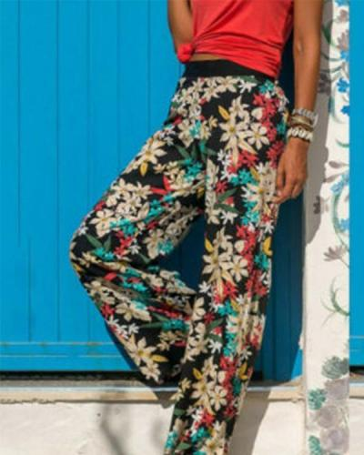 Women Casual Printed Elastic Band Plus Size Wide Leg Pants