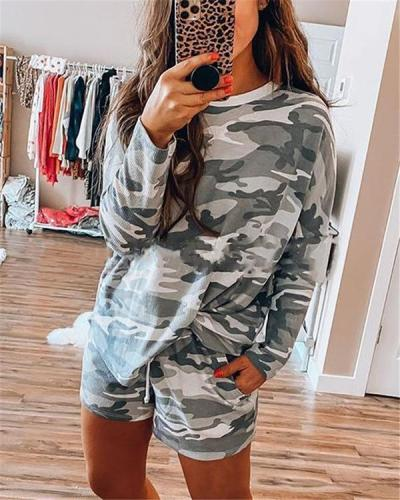 Casual Camouflage Printed Long Sleeve Suit
