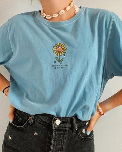 Women's Fashion Floral Print Short Sleeve T-Shirt