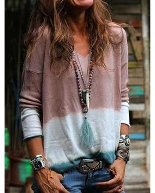 Women V Neck Long Sleeve Print Casual Blouses