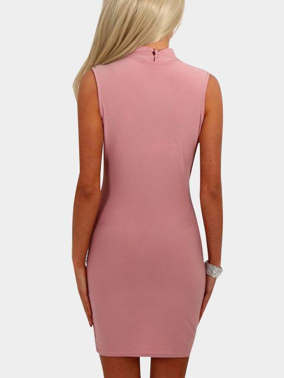 Crossed Front V-neck Sleeveless Mini Dresses