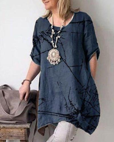 Summer Casual Crew Neck Short Sleeve Cotton Plus Size Dresses