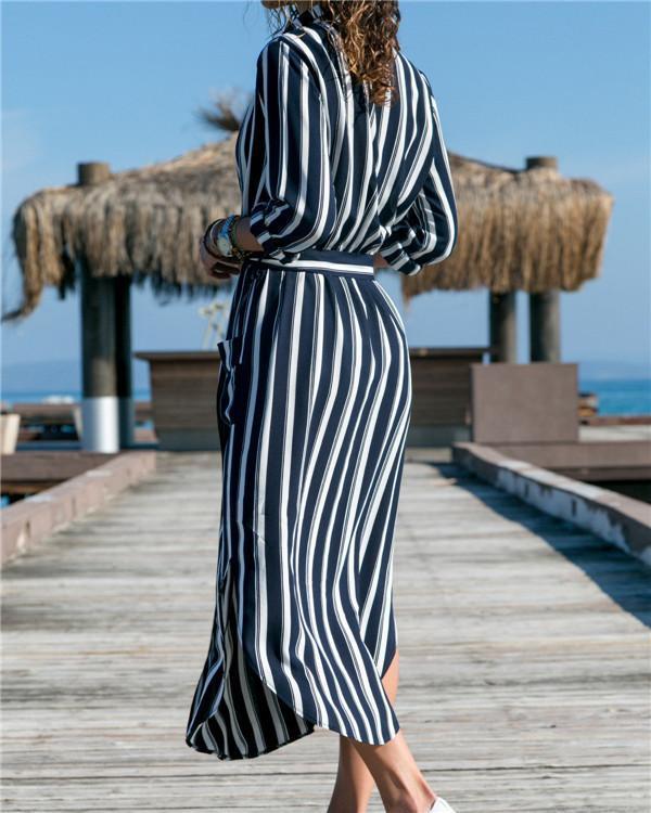 Random Printed V Neck Casual Long Sleeve Midi Dress