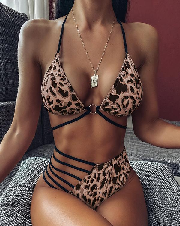 Halter Ladder Cutout Bandage Bikini Set