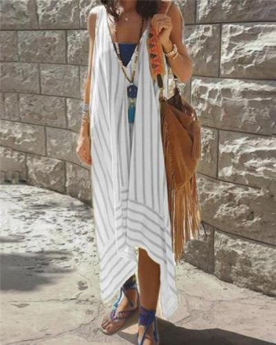 Striped Irregular Casual Daily Fashion Midi Dresses